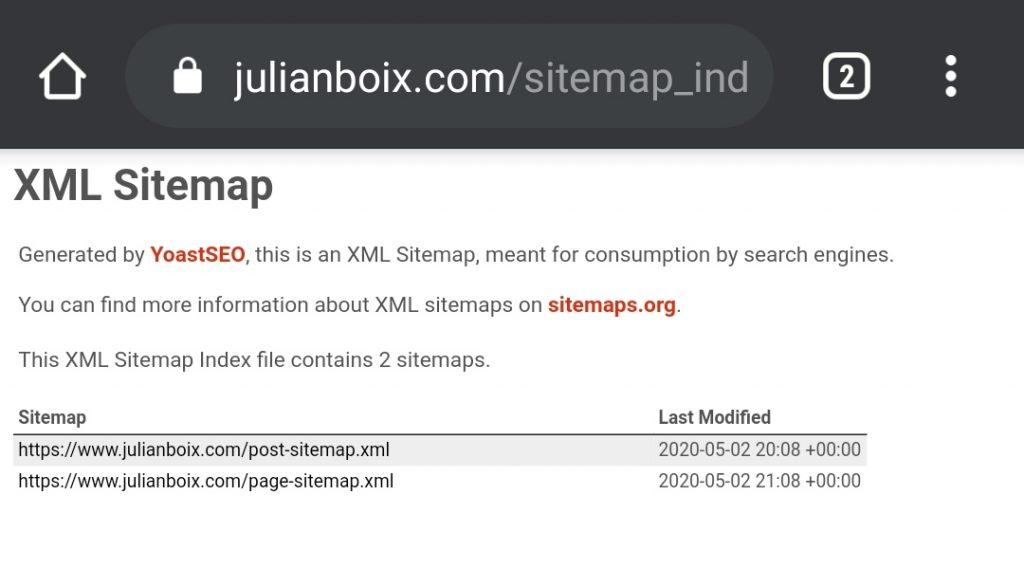 XML sitemap de Yoast SEO