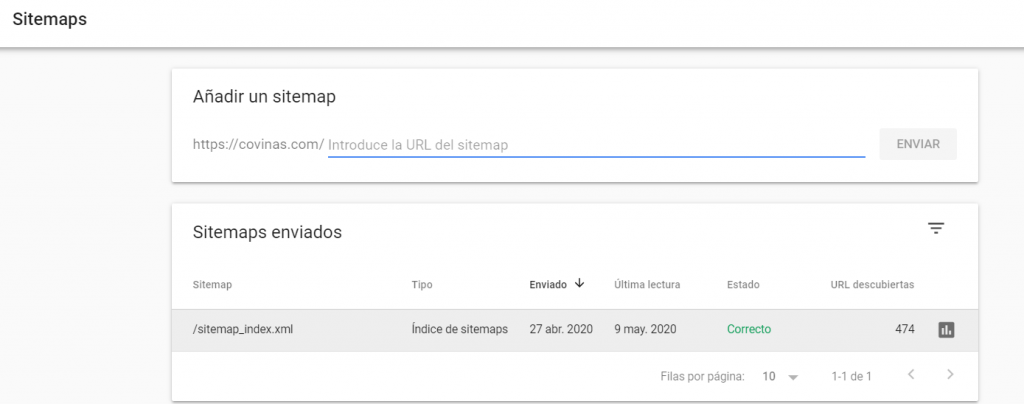 sitemap subido a Google Search Console